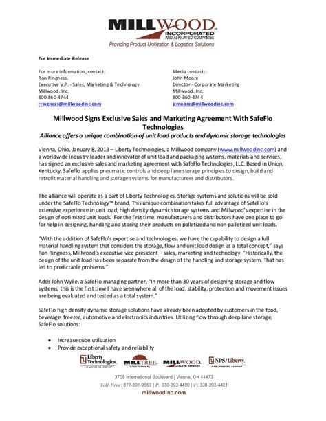 sle marketing agreement template millwood signs exclusive sales and marketing agreement