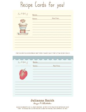 fillable recipe card template fill online printable
