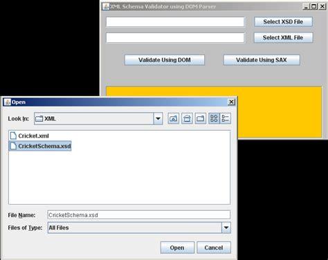 swing xml validate xml schema using dom parser and sax parser in