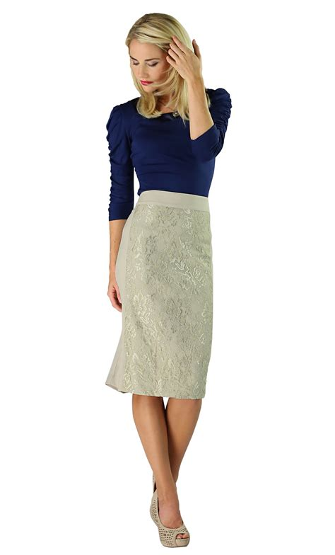 modest skirts lace panel in light taupe
