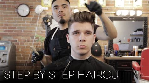 step by step men faded hair cut with layers men s step by step faded haircut modern quiff hairstyle