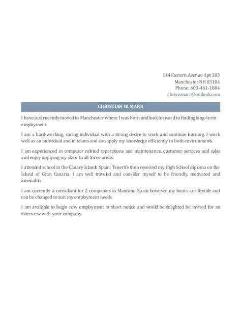 Christian Cover Letter by Christian W Marr Resume Cover Letter October 2014