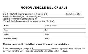 Vehicle Bill Of Sale Template Florida Motor Vehicle Bill Of Sale Template