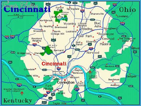 map of cincinnati cincinnati map travelsfinders