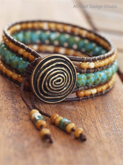 wrap beaded bracelet beaded leather wrap bracelet row wrap bracelet boho