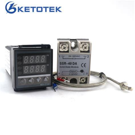 Rex C 100 Digital Pid Temperature Controller Dan Ssr 40a dual digital pid temperature controller thermostat rex c100 thermocouple k ssr 40a ssr 40da 110v