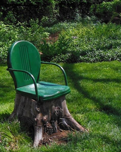 Whimsical Garden Tree Stump Stool by One Unsightly Tree Stump One Metal Chair With A Broken
