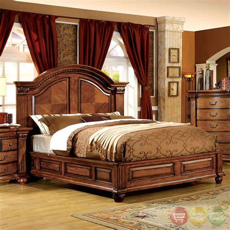 bellagrand luxurious antique tobacco oak bedroom set