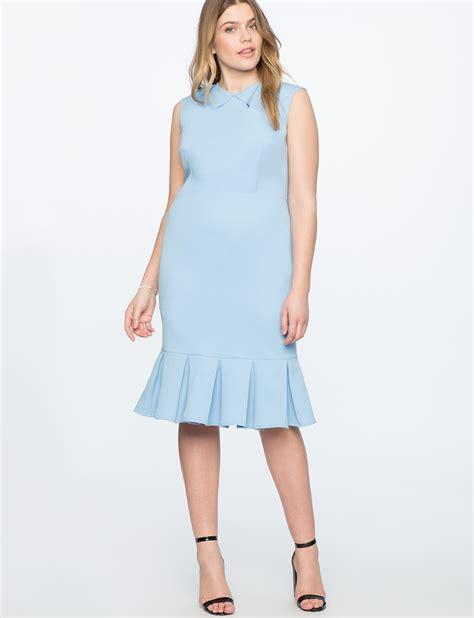 Ruffle Hem Sheath Dress pleated neckline sheath dress with ruffle hem s