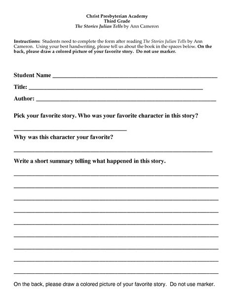 book report template 3rd grade printable 6 best images of free printable third grade book report