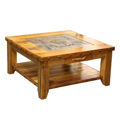 best coffee table barnwood elk scene tile top coffee table with nailheads