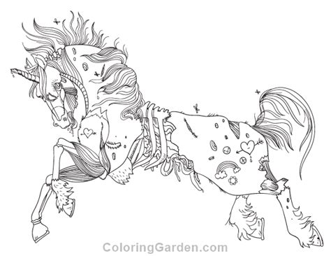 unicorn coloring page pdf free printable zombie unicorn adult coloring page