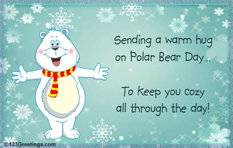 polar bear day hugs  polar bear day ecards greeting cards