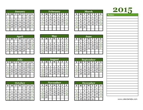 2015 printable yearly calendar landscape 2015 yearly calendar free printable templates