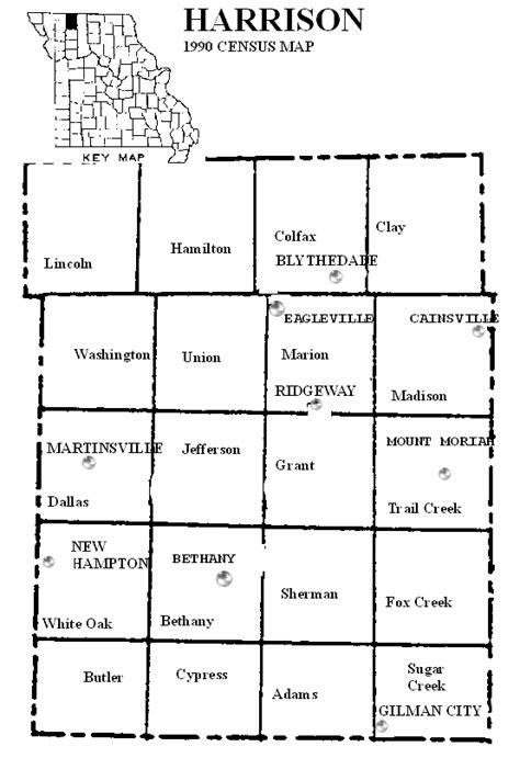 harrison county map harrison county missouri maps and gazetteers