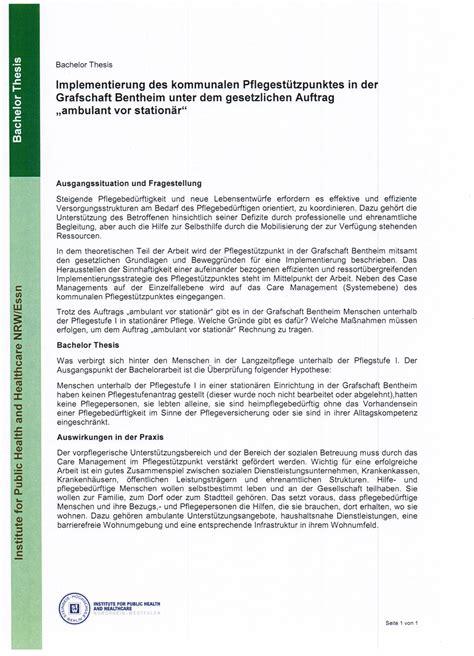 Bewerbungbchreiben Muster Gesundheits Und Kinderkrankenpflege Bachelor Thesen Steinbeis Hochschule In Essen Kalkar