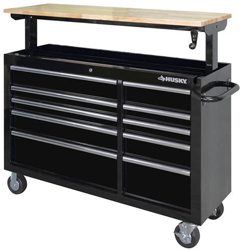 husky tool bench husky adjustable height mobile workbench