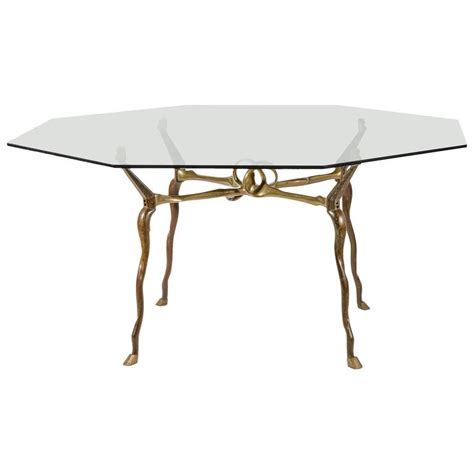 sculptural octagonal bronze dining table by antonio kieff