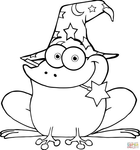 coloring book of magic wizard frog with a magic wand in coloring page