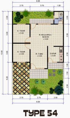 layout rumah type 54 rumah minimalis ukuran 7x10 rumah minimalis pinterest