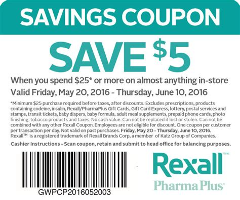 printable restaurant coupons winnipeg rexall 5 off when you spend 25 coupon until june 10
