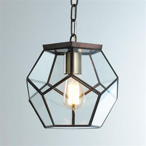 Suspended Kitchen Lighting Clear Glass Prism Pentagon Pendant Light Geometric Pentagon Panels Of Clear Glass Create Eye