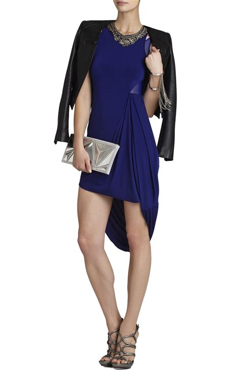 asymmetrical draped dress bcbgmaxazria liza asymmetrical draped skirt dress in blue