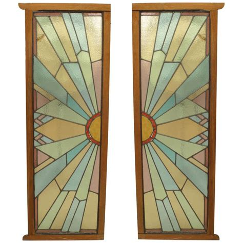 Pair Of French Art Deco Stained Glass Doors Deco Glass Doors