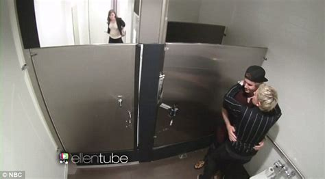 caught in the bathroom justin bieber and ellen degeneres get caught making out in the bathroom and scare