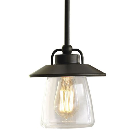 Lowes Kitchen Light Fixtures Shop Allen Roth Bristow 6 87 In Mission Bronze Rustic Mini Clear Glass Globe Pendant At Lowes
