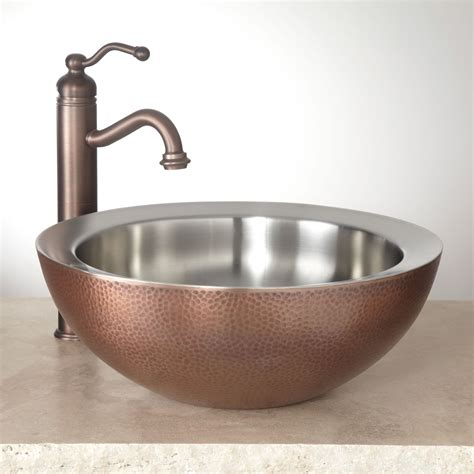 copper vessel sinks ebay signature hardware blane double wall hammered copper