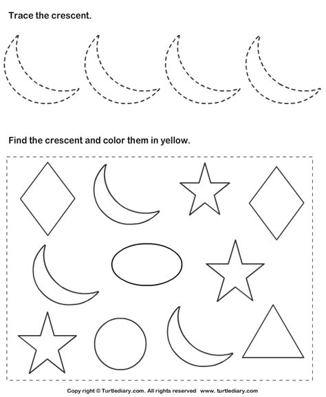 Crescent Shape Worksheets For Preschoolers by Trace Crescent And Color Them Worksheet Turtle Diary