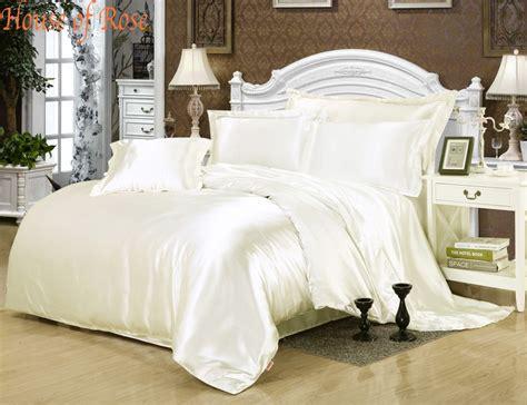 silk bed linen luxury milk white silk satin bed sheet set duvet cover