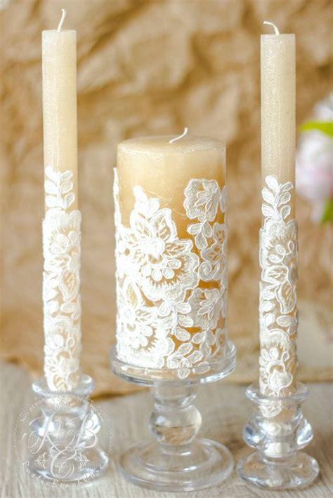 Wedding Unity Candle Set by Lace Unity Candle Rustic Wedding Unity Candle Set