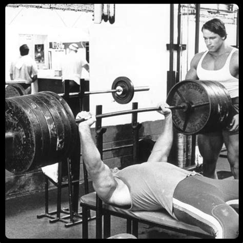 arnold schwarzenegger bench press superstar billy graham rare photo tom furman fitness