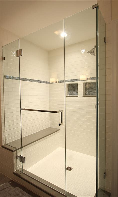 Mosaic Tiled Bathrooms Ideas by Large Tile Shower With Bench Traditional Bathroom Dc
