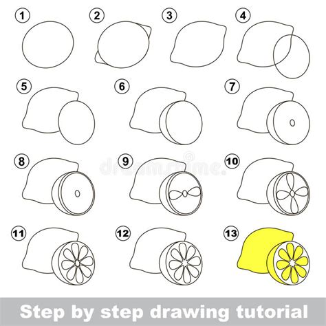 pattern drawing games drawing tutorial how to draw a lemon stock vector image