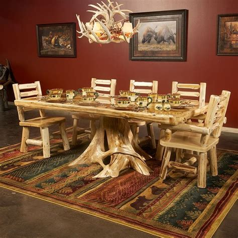 cedar lake solid wood dining table  stump beautiful lakes  unique