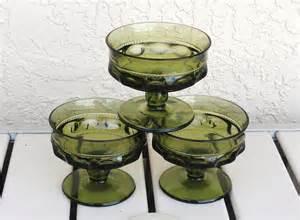depression glass colors vintage depression glass in olive color set of 3 footed desert