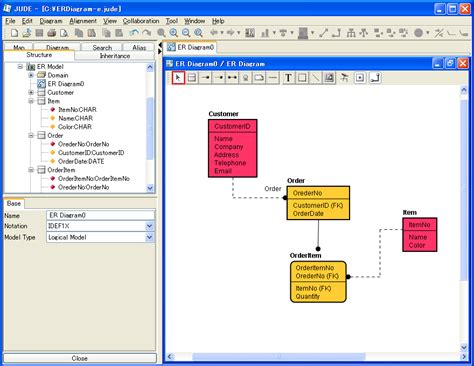 er database diagram tool jude professional special features