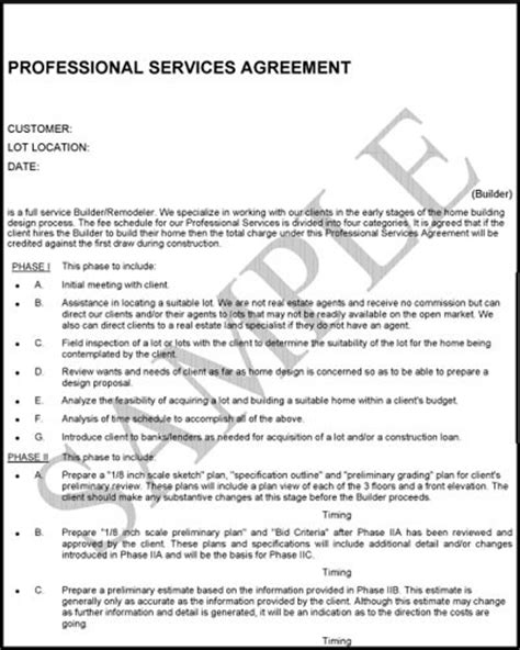 professional services agreement design agreement contracts