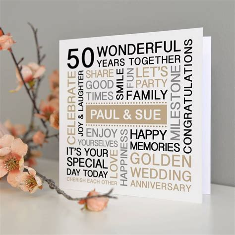 Golden Wedding Anniversary Cards Uk by Personalised Golden Wedding Anniversary Card