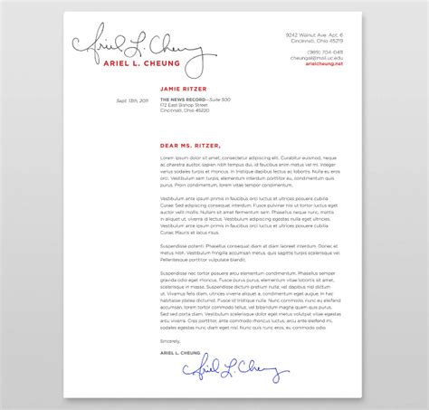 signed cover letter journalist branding ritzer graphic designer