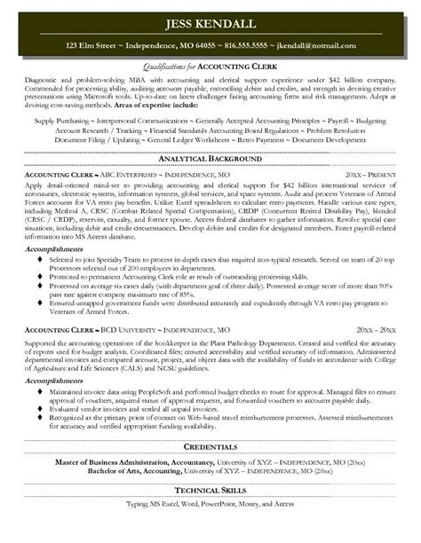 Resume Objective Exles Accounting Assistant Exle Accounting Clerk Resume Free Sle