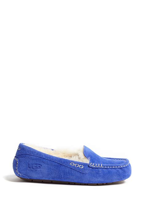 shearling lined slippers ugg blue ansley shearling lined slippers in blue lyst