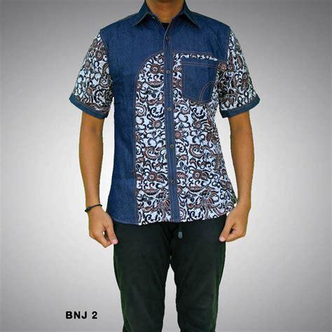 Kemeja Batik Kombi Denim kemeja batik pria kombinasi bnj 2