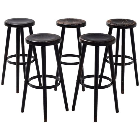 beech bar stools set of five solid beech bar stools for sale at 1stdibs