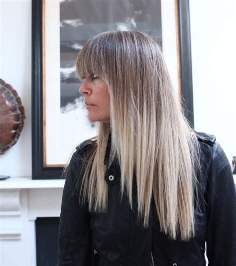 balayage and bangs long stick straight bronde hair with light blonde balayage