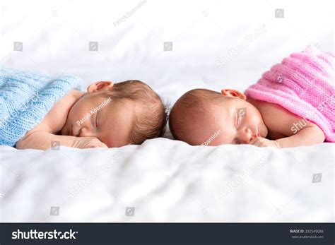 lying down in bed boy girl twins lying down bed stock photo 292549088