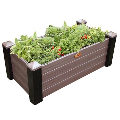 Vinyl Raised Garden Beds by Gronomics 24 In X 48 In X 18 In Maintenance Free Black